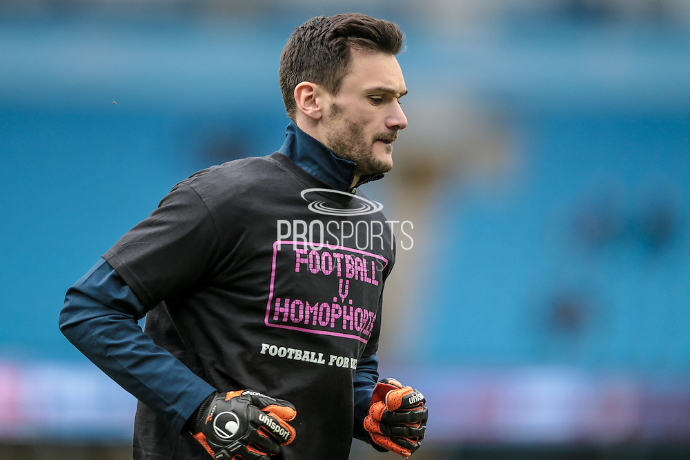 Hugo Lloris (Tottenham Hotspur) warming up before the Barclays Premier League match between Manchester City and Tottenham Hotspur at the Etihad Stadium, Manchester, England on 14 February 2016. Photo by Mark P Doherty.