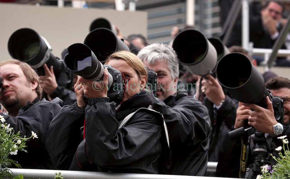 29 April 2011. London, England..Royal wedding day. Serious point and shooting. Press photographers in their custom built stands capture the day..Photo; Charlie Varley.