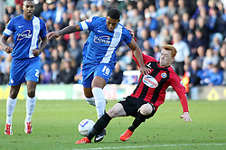 Peterborough United's Nathaniel Mendez-Laing in action with Shrewsbury Town's Ryan Woods - Photo mandatory by-line: Joe Dent/JMP - Tel: Mobile: 07966 386802 19/10/2013 - SPORT - FOOTBALL - London Road Stadium - Peterborough - Peterborough United V Shrewsbury Town - Sky Bet League One