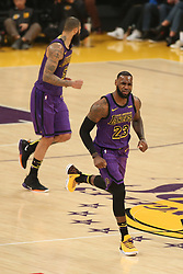 November 14, 2018 - Los Angeles, CA, U.S. - LOS ANGELES, CA - NOVEMBER 14: Los Angeles Lakers Forward LeBron James (23) not happy with a call on the court during the Portland Trail Blazers versus the Los Angles Lakers game on November 14, 2018, at Staples Center in Los Angeles, CA. (Photo by Icon Sportswire) (Credit Image: © Jevone Moore/Icon SMI via ZUMA Press)
