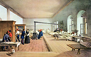 Florence Nightingale (1820-1910) English nursing pioneer and hospital reformer inspecting wards of the military hospital at Scutari during the Crimean War (1853-1856). Patients able to leave bed cluster round a box stove. After lithograph from Simpson 'Illu