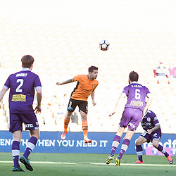 BRISBANE, AUSTRALIA - OCTOBER 30: Jamie MacLaren of the roar heads the ball during the round 4 Hyundai A-League match between the Brisbane Roar and Perth Glory at Suncorp Stadium on October 30, 2016 in Brisbane, Australia. (Photo by Patrick Kearney/Brisbane Roar)
