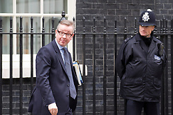 © Licensed to London News Pictures. 07/01/2013. London, UK. The Education Secretary Michael Gove pulls a funny face as he leaves Downing Street in London today (07/01/13) after attending the first cabinet meeting of 2013. Photo credit: Matt Cetti-Roberts/LNP