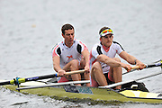 Hazewinkel, BELGIUM,  Men's Pair, bow [left]  Rick EGINGTON and Matt LANGRIDGE, at the start of their race in the Sunday Afternoon Semi Finals at the British Rowing Senior Trails, Bloso Rowing Centre. Sunday,  11/04/2010. [Mandatory Credit. Peter Spurrier/Intersport Images]