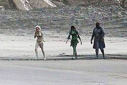 EXCLUSIVE: Angelina Jolie wears a blonde wig and tight gold suit as she films The Eternals with Gemma Chan and Brian Tyree Henry on the beach in Fuerteventura, Canary Islands. The Marvel superhero movie also stars Selma Hayak, Kit Harington and Richard Madden. 06 Nov 2019 Pictured: Angelina Jolie wears a blond wig and tight gold suit as she films The Eternals with Gemma Chan and Brian Tyree Henry in Fuerteventura. Photo credit: MEGA TheMegaAgency.com +1 888 505 6342