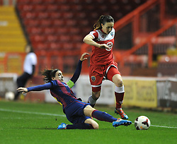 Bristol Academy Womens' Corinne Yorston is challenged by FC Barcelona's Marta Unzue - Photo mandatory by-line: Dougie Allward/JMP - Mobile: 07966 386802 - 13/11/2014 - SPORT - Football - Bristol - Ashton Gate - Bristol Academy Womens FC v FC Barcelona - Women's Champions League