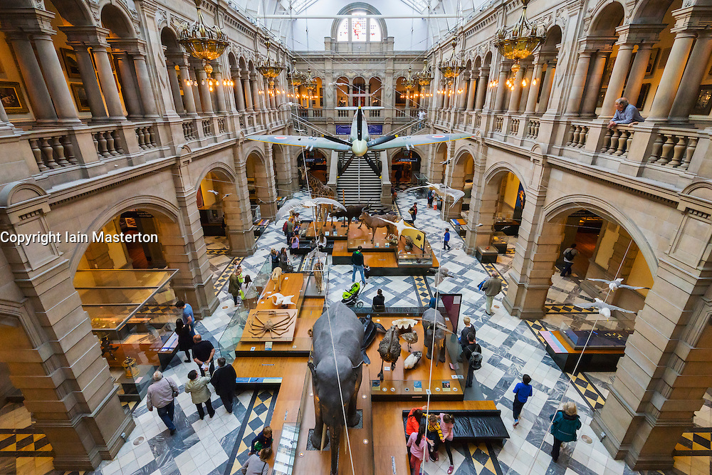 Interior of hall of Kelvingrove Art Gallery and Museum in Glasgow United Kingdom