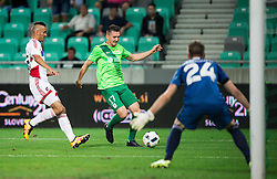 Andraz Kirm of NK Olimpija vs Igor Semrinec of AS Trencin during 1st Leg football match between NK Olimpija Ljubljana (SLO) and FK AS Trenčin (SVK) in Second Qualifying Round of UEFA Champions League 2016/17, on July 13, 2016 in SRC Stozice, Ljubljana, Slovenia. Photo by Vid Ponikvar / Sportida