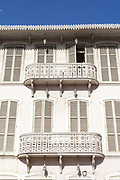 A building with elaborate iron balconies in the Colonial style near the Avenue da Independencia, Sao Tome <br /> Sao Tome and Principe, are two islands of volcanic origin lying off the coast of Africa. Settled by Portuguese convicts in the late 1400s and later a centre for slaving, their independence movement culminated in a peaceful transition to self government from Portugal in 1975.