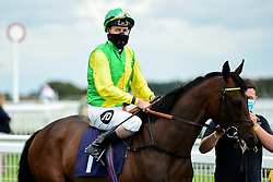 Eagles Dare ridden by Tom Queally and trained by Denis Coakley in the visitbath.co.uk Nursery Handicap - Mandatory by-line: Ryan Hiscott/JMP - 24/08/20 - HORSE RACING - Bath Racecourse - Bath, England - Bath Races