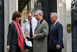 © Licensed to London News Pictures. 15/04/2016. London, UK. UKIP Leader Nigel Farage with UKIP Deputy Chairman and Home Affairs Spokesman Diane James MEP and UKIP's London Mayoral candidate Peter Whittle deliver letters to 10 Downing Street referencing the recent pro-EU Government communication to all UK households on Friday, 15 April 2016. Photo credit: London News Pictures