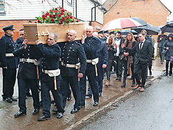 ©Licensed to London News Pictures 30/01/2020<br /> Orpington, UK. Mr Knott's fiancee Lucy Otto walking into the church behind the coffin. The Funeral of thirty three year old father-of-four and firefighter Anthony Knott at Saint Giles the Abbot Church, Orpington, Kent.  His body was found in the water at Denton Island, Sussex three weeks after he went missing on a night out in Lewes, East Sussex in December 2019. Photo credit: Grant Falvey/LNP