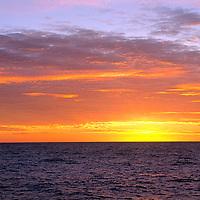 ARCTIC OCEAN. Sunset over Barents Sea near Franz Josef Land.