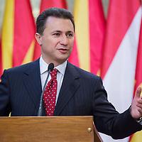 Nikola Gruevski (L) Prime Minister of Macedonia talks during a press conference in Budapest, Hungary on November 14, 2012. ATTILA VOLGYI