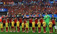 Team Belgium during the national anthem <br /> Lyon 13-06-2016 Stade de Lyon Footballl Euro2016 Belgium - Italy / Belgio - Italia Group Stage Group D. Foto Massimo Insabato  / Insidefoto