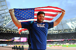 Mason Finley of the USA celebrates his bronze medal - Mandatory byline: Patrick Khachfe/JMP - 07966 386802 - 05/08/2017 - ATHLETICS - London Stadium - London, England - Men's Discus Throw Final - IAAF World Championships