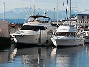 Boats at Elliot Bay Marina, Olympic Mountains, Puget Sound, Seattle, Washington 98199