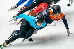 Hanne Desmet BEL and Georgie Dalrymple in action on the 1000 meter during ISU World Cup Finals Shorttrack 2020 on February 14, 2020 in Optisport Sportboulevard Dordrecht.