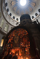 The Edicule of the Holy Sepulchre (The Tomb of Christ) with the dome of the rotunda visible above. Inside the Church of Holy Sepulchre, Jerusalem. Train & Travel is a unique ten day program designed for IKMF's instructors, students & guests, interested in combining Krav Maga training with a tour of the holy land, Tuesday 4th Jan, 2011. .©2011 Michael Schofield. All Rights Reserved.