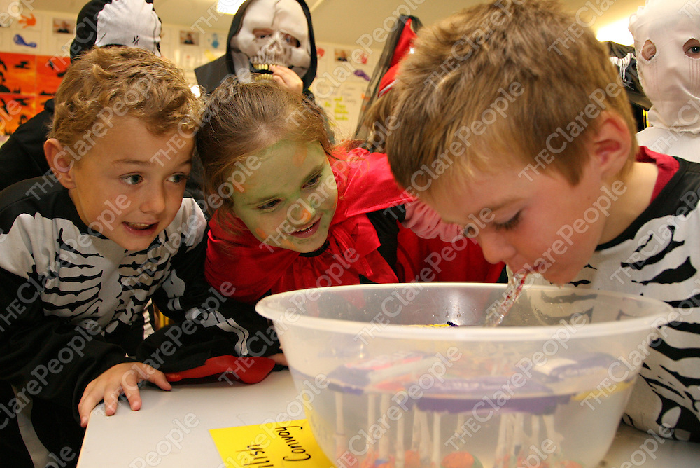 Adam O' Connor and Sharon Clancy give Gavin O' Connor words of encouragement as part of the Halloween fun in Mullagh N.S on Friday.<br /><br />Photograph by Yvonne Vaughan.