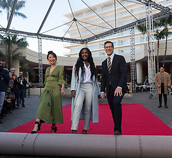 Sandra Oh, Isan Elba and Andy Samberg at the rollout of the Red Carpet for the Golden Globe Awards 2019 at the Beverly Hilton Hotel in Beverly Hills, CA. January 3, 2019