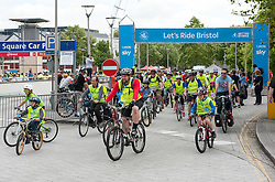 © Licensed to London News Pictures. 21/06/2015. Bristol, UK.  Skyride event comes to Bristol, with family friendly cycling from the city docks to the Portway on the Avon Gorge, with roads closed to motor traffic. The event was led at the start by Team Wiggins road rider Dan Patten, and Mayor of Bristol George Ferguson. Photo credit : Simon Chapman/LNP
