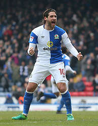Blackburn's Danny Graham celebrates after Blackburn score their second goal
