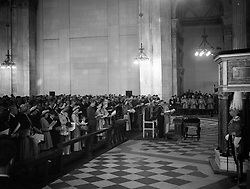 The Service of Thanksgiving. Behind King George VI and Queen Elizabeth are the Duke and Duchess of Gloucester, Princess Margaret, Queen Mary, Princess Elizabeth and the Duke of Edinburgh