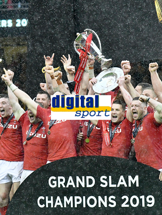 Rugby Union - 2019 Guinness Six Nations Championship - Wales vs. Ireland<br /> <br /> wales celebrate the grand slam , at the Principality Stadium (Millennium Stadium).<br /> <br /> COLORSPORT/WINSTON BYNORTH
