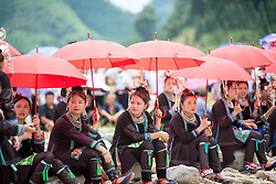 July 27, 2018 - Congjiang, Congjiang, China - Congjiang, CHINA-People of Zhuang ethnic minority group in traditional clothes attend the traditional festival in Congjiang, southwest China's Guizhou. (Credit Image: © SIPA Asia via ZUMA Wire)