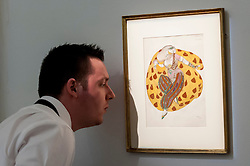 """© Licensed to London News Pictures. 03/06/2016. London, UK. A staff member examines Léon Bakst''s """"Costume design for Scheherazade"""" (est. GBP 30,000-50,000), at a preview of Sotheby's Russian and contemporary central and eastern European art sale which takes place in London on 7 June. Photo credit : Stephen Chung/LNP"""