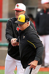 25 May 2013: Mark Kingston shakes hands with Gene Stephenson during an NCAA division 1 Missouri Valley Conference (MVC) Baseball Tournament game between the Wichita State Shockers and the Illinois State Redbirds on Duffy Bass Field, Normal IL