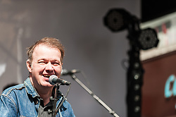 Edwyn Collins performing an acoustic set at the Berwick Street Record Day concert in London.