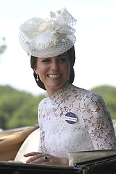 The Duchess of Cambridge getting into her carriage to take part in the parade during Royal Ascot at Ascot Racecourse.