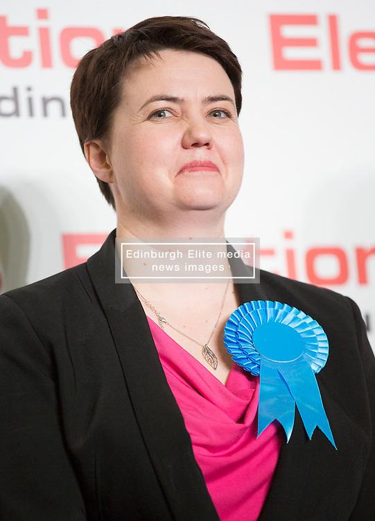Scottish Parliament Election 2016 Royal Highland Centre Ingliston Edinburgh 05 May 2016; Ruth Davidson (Scottish Conservative leader) is all smiles as she wins her seat during the Scottish Parliament Election 2016, Royal Highland Centre, Ingliston Edinburgh.<br /> <br /> (c) Chris McCluskie   Edinburgh Elite media
