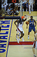 The Washington Wizards defeated the Cleveland Cavaliers 88-87 in Game 5 of the First Round of the NBA Playoffs, April 30, 2008 at Quicken Loans Arena in Cleveland..LeBron James of Cleveland slam dunks against Roger Mason and the Washington Wizards.