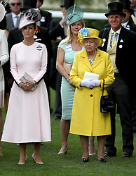 Sophie the Countess of Wessex (left) and Queen Elizabeth II watch the Wolferton Stakes during day one of Royal Ascot at Ascot Racecourse.
