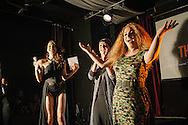 Hosts and guest speakers address the crowd at the Angel of Turkey Trans Beauty Pageant, held on Sunday in Istanbul, Turkey.