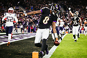 The Baltimore Ravens defeated the New England Patriots, 37-20, in Sunday Night Football at M&T Bank Stadium on November 3, 2019 in Baltimore, MD.