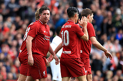 Liverpool's Robbie Fowler celebrates a goal during the Legends match at Anfield Stadium, Liverpool.