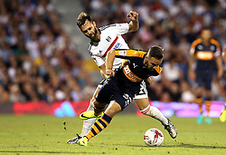 Adam Armstrong of Newcastle United goes past Michael Madl of Fulham - Mandatory by-line: Robbie Stephenson/JMP - 05/08/2016 - FOOTBALL - Craven Cottage - Fulham, England - Fulham v Newcastle United - Sky Bet Championship