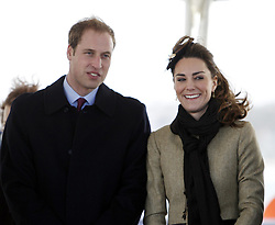 Prince William and Kate Middleton arrive for a service of dedication for a new RNLI lifeboat at Trearddur Bay Lifeboat Station in Anglesey, North Wales.