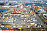 Nederland, Zuid-Holland, Rotterdam, 18-02-2015. Waalhaven Emplacement, bedrijventerrein Waalhaven en Vondelingenweg. Links Eemhaven, rechts Waalhaven.<br /> Port of Rotterdam with railway yard, harbours and container terminals.<br /> luchtfoto (toeslag op standard tarieven);<br /> aerial photo (additional fee required);<br /> copyright foto/photo Siebe Swart