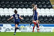 Erin Cuthbert (#22) of Scotland celebrates Scotland's second goal (2-0) scored by Kim Little (#8) of Scotland during the 2019 FIFA Women's World Cup UEFA Qualifier match between Scotland Women and Switzerland at the Simple Digital Arena, St Mirren, Scotland on 30 August 2018.