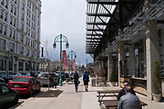 View of the Milwaukee Public Market, in the Historic Third Ward of Milwaukee, Wisconsin, USA.