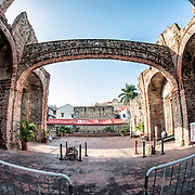 The famous Arco Chato (Flat Arch) at the Iglesia Santo Domingo in Casco Viejo in Panama City. The church was built in 1678 but destroyed by fire in 1756. Since then it has remained a ruined shell, but the Arco Chato, which does not have external support, survived for centuries. It finally collapsed in 2003 but has since been rebuilt.