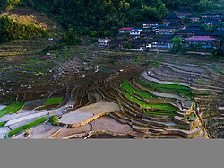 May 30, 2017 - Guilin, Guilin, China - Guilin, CHINA-May 30 2017: (EDITORIAL USE ONLY. CHINA OUT)..Stunning scenery of terraced field in Longsheng County, Guilin, southwest China's Guangxi, May 30th, 2017. (Credit Image: © SIPA Asia via ZUMA Wire)