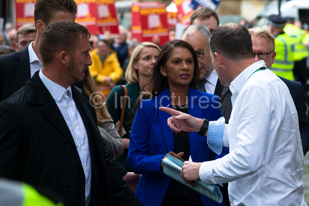 Businesswoman and campaigner Gina Miller, C who launched legal proceedings against Prime Minister Boris Johnsons government over the suspension of parliament leaves the Supreme Court after a ruling that the prorogation of Parliament was unlawful on 24th September 2019 in London, United Kingdom. The Supreme Court  ruled that Prime Minster Boris Johnson acted unlawfully when he requested that the Queen prorogue parliament for more than a month, and that parliamentariansshould reconvene as soon as possible.