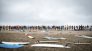 Friends and family celebrate the life of Brad Parker (36), during a paddle out memorial service at the Russian River Mouth near Jenner, California. An avid surfer and rock climber, Brad was killed in a fall while traversing Matthes Crest in Yosemite National Park on August 16, 2014.
