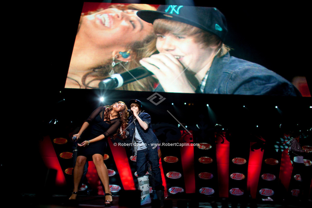 Justin Bieber performs with Jordin Sparks at the 2009 Z100's Jingle Ball at Madison Square Garden in New York. ..(Photo by Robert Caplin)..
